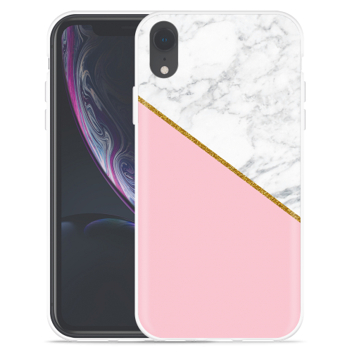 Just In Case Apple Iphone Xr Hoesje Pink Gold White Marble